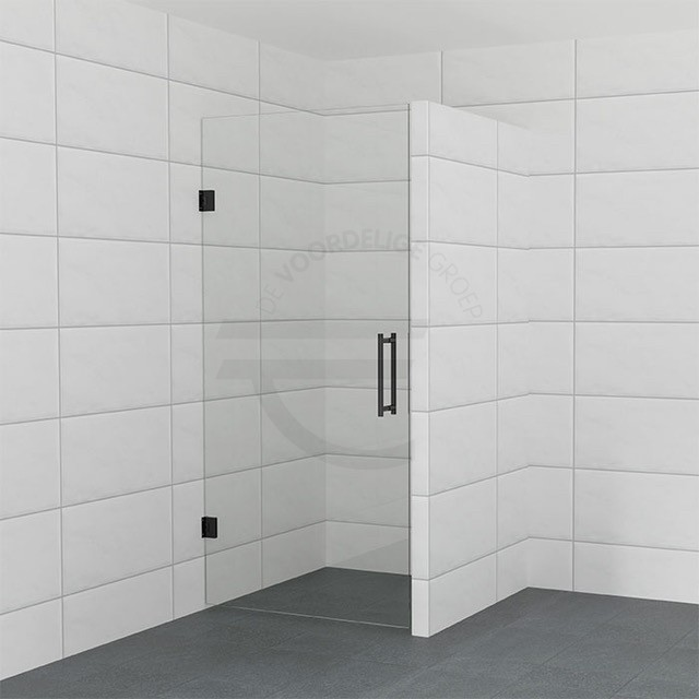 Zwarte douchedeur op maat van helder glas