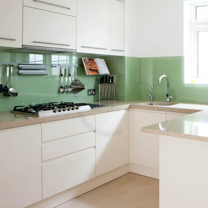 Gekleurde keuken achterwand - Mint