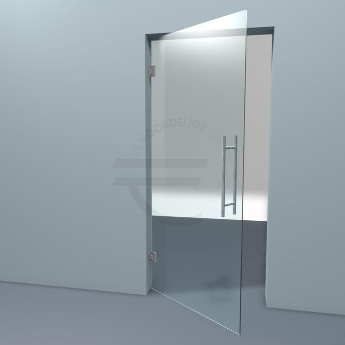 Een pendeldeur van helder glas