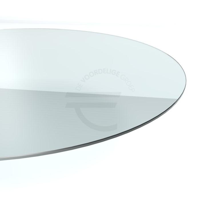 Rond vormig tafelblad van helder glas