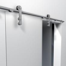 Schuifdeursysteem met mat glas van dichtbij