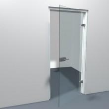 Stompe deur van helder glas