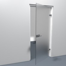 Hoe een stompe deur eruit ziet als hij geplaatst is.