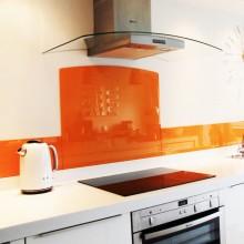 Gekleurde glazen keuken spatwand extra helder glas