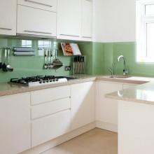 Gekleurde glazen keuken spatwand helder glas
