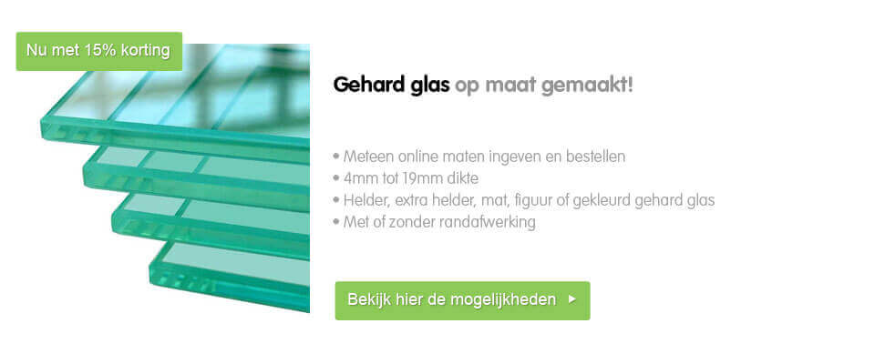 kortingsactie 15% korting op gehard glas op maat