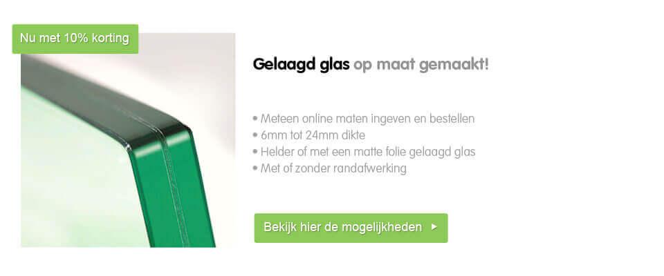 kortingsactie 10% korting op gelaagd glas op maat